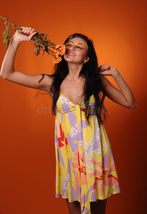 Pretty Girl Smell Fragrance Of Flowers Royalty Free Stock Photography