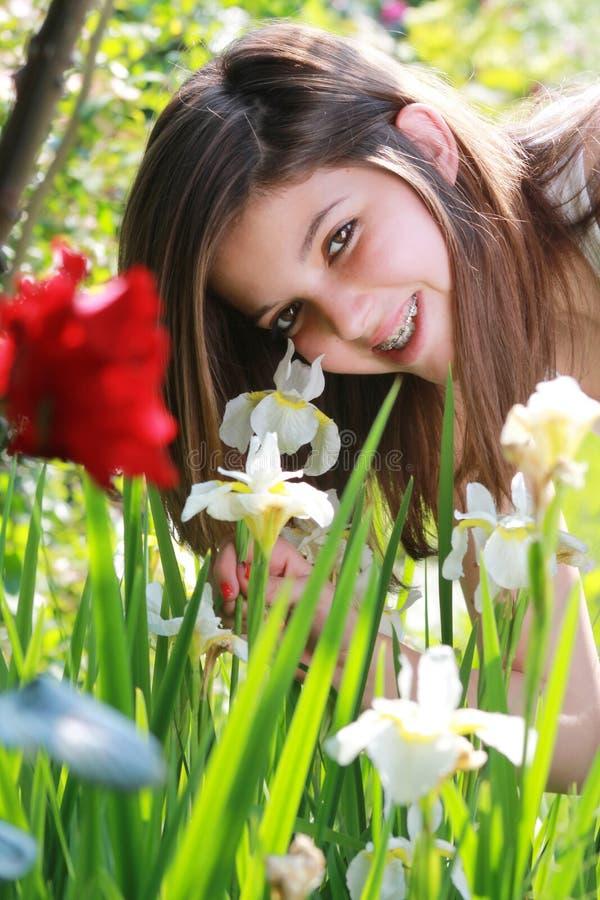 Pretty girl smiles with braces stock photo