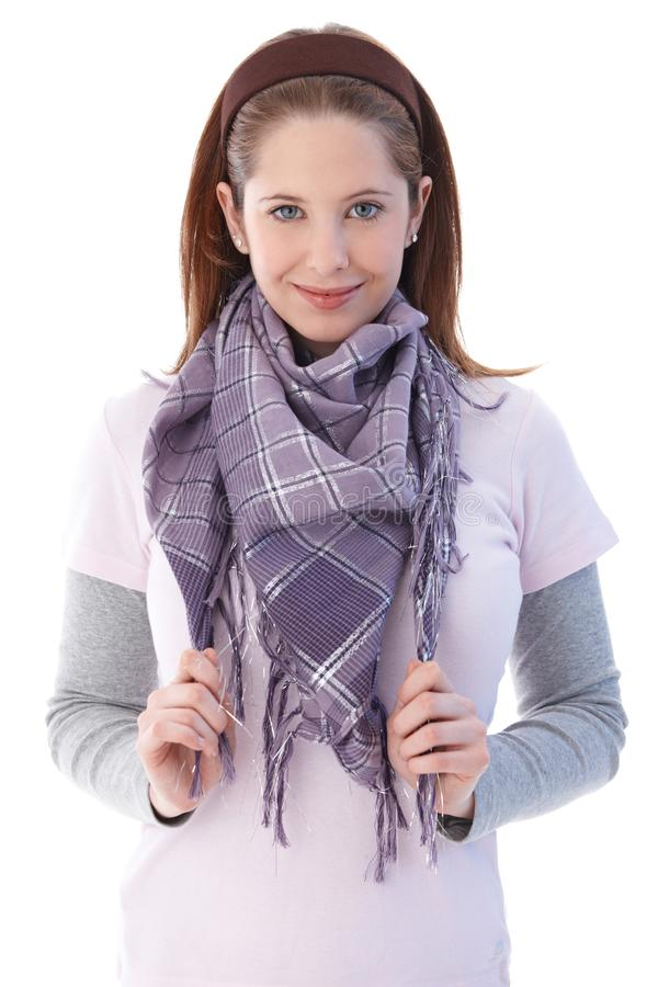 Download Pretty Girl Smiling Wearing Scarf Stock Photo - Image: 20339342