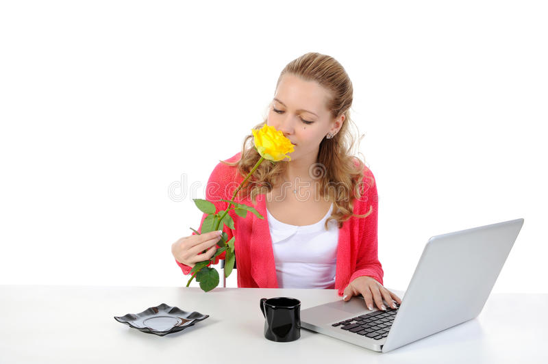 Download Pretty Girl Sniffing Yellow Rose. Stock Photo - Image: 14551512