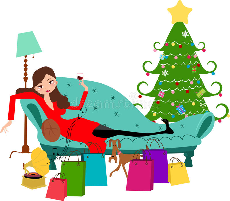 Download Pretty girl on sofa stock vector. Illustration of store - 17375813