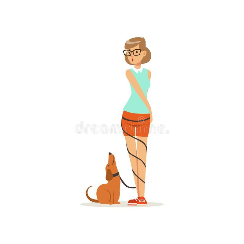 Pretty girl standing with happy dog, leash wrapped around her legs. Young woman in glasses, blouse and shorts. Domestic stock illustration