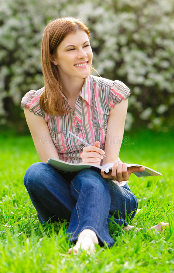 Download Pretty Girl Studying Outdoors Stock Image - Image: 9875859