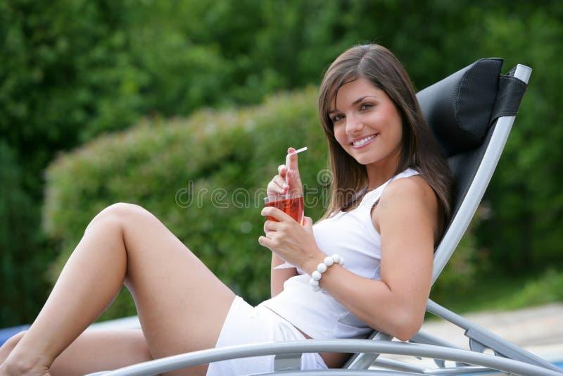 Pretty Girl Sunbathing Stock Images