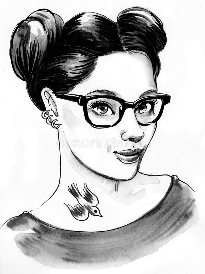 Pretty girl with a tattoo vector illustration