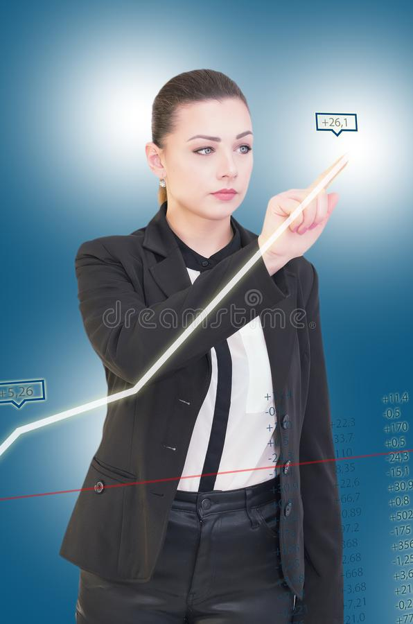 Pretty girl touch in screen royalty free stock photography