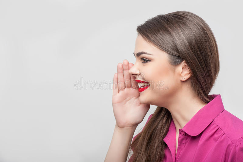 Pretty girl tv journalist is making her report royalty free stock photography