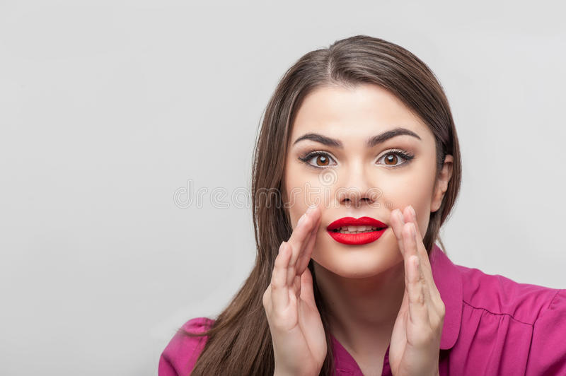 Pretty girl tv journalist is showing her amazement royalty free stock image