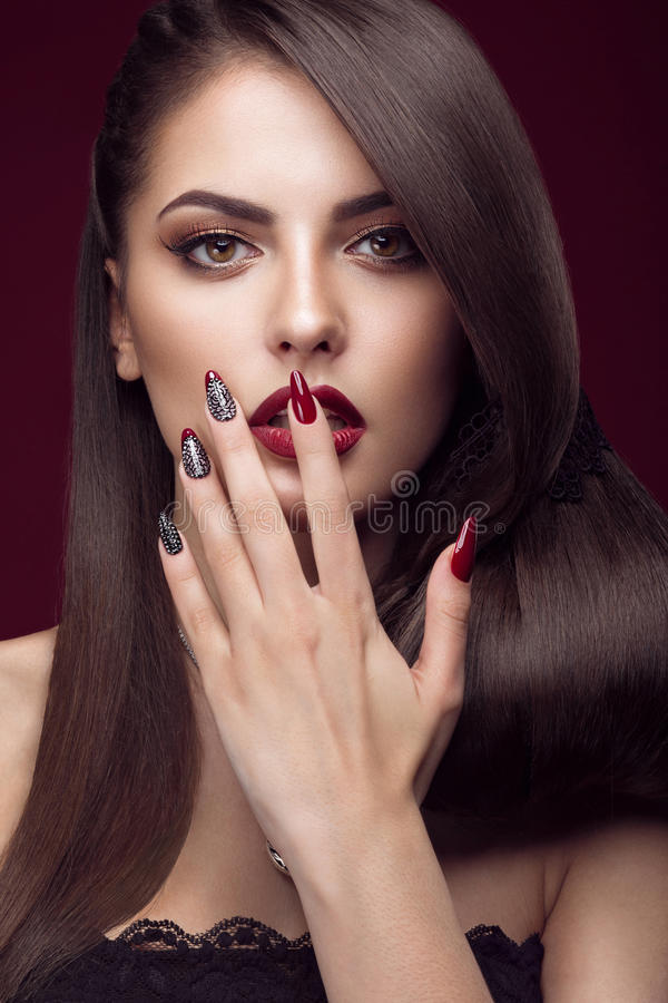 Pretty girl with unusual hairstyle, bright makeup stock photos