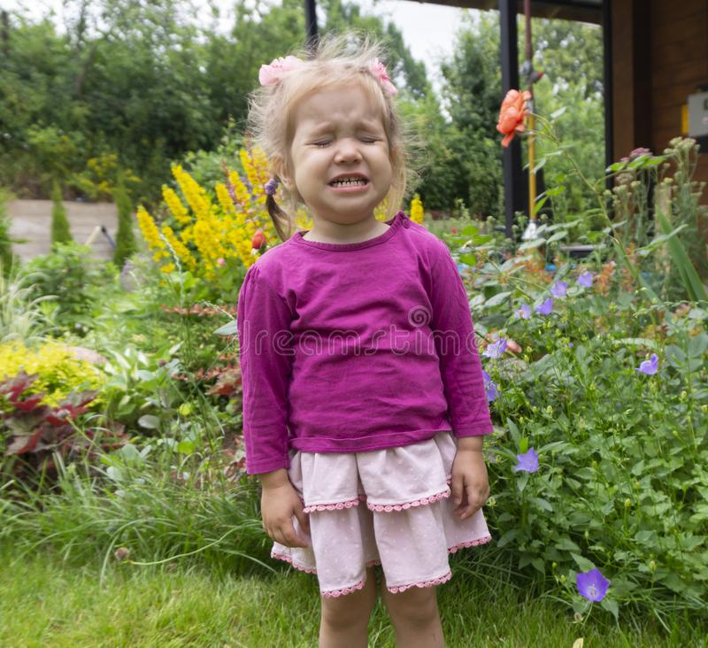 A little pretty girl is upset and in frustrated feelings, screaming and crying against a lawn with flowers stock images