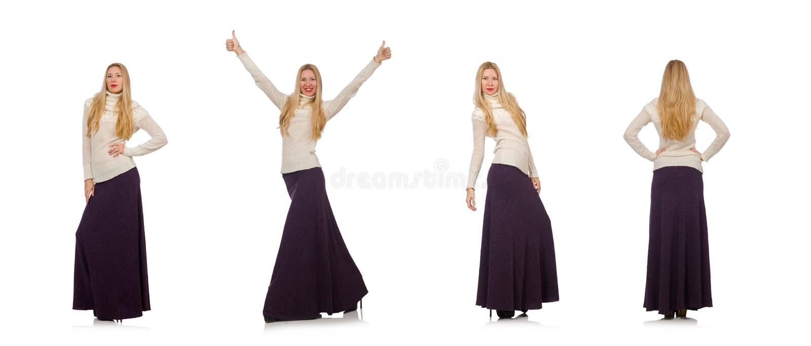 Pretty girl in violet long dress isolated on white. The pretty girl in violet long dress isolated on white royalty free stock image