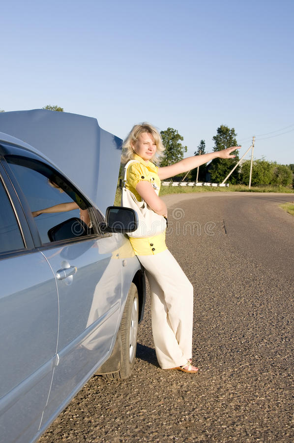 Download Pretty Girl Waiting On The Road Stock Photo - Image: 14966274