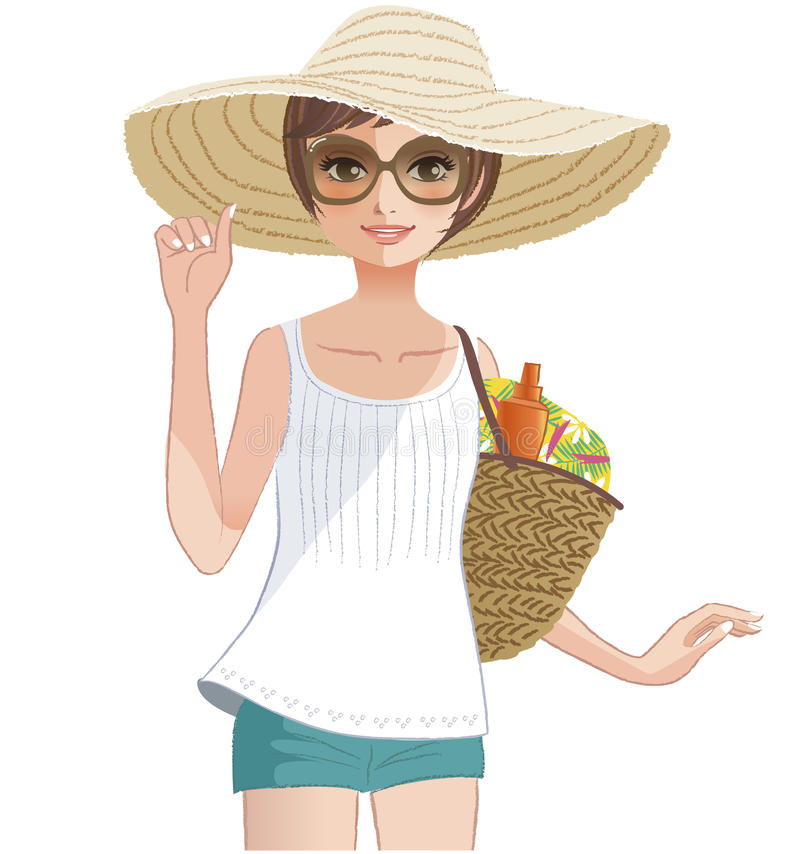 Free Pretty Girl Wearing A Wide Brimmed Straw Hat. Stock Photography - 40418312
