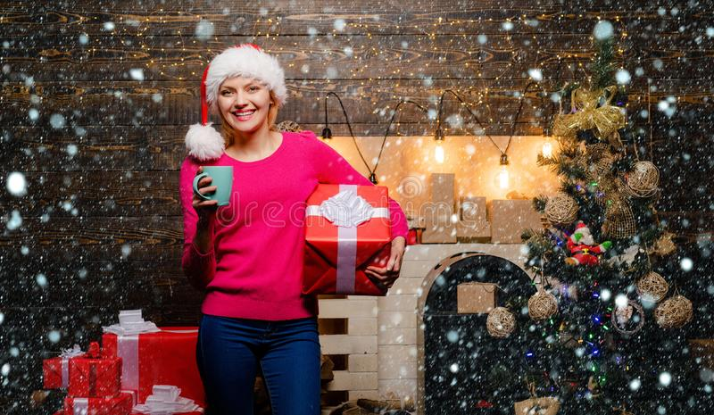 Pretty girl wearing in Christmas dress. Beautiful Santa Clause woman. Christmas and new year concept. Christmas woman stock photography