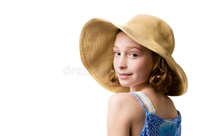Pretty girl wearing a straw sunhat