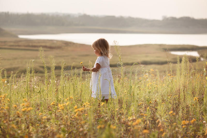 Pretty girl in white dress beside the pond royalty free stock images