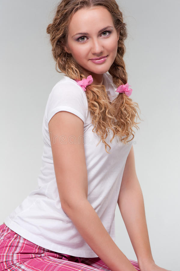 Download Pretty Girl In White T-shirt Stock Image - Image: 11920777