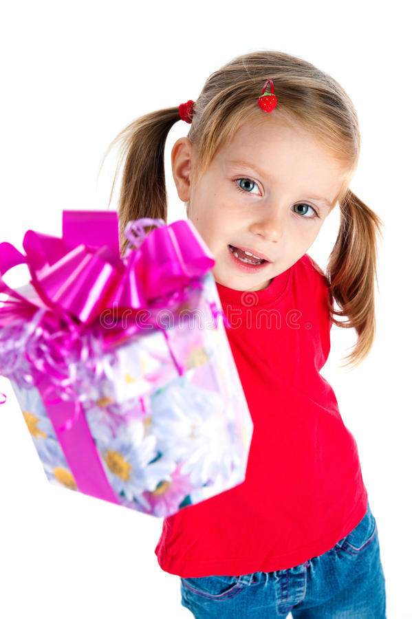 Pretty Girl Wih The Gift Royalty Free Stock Photos