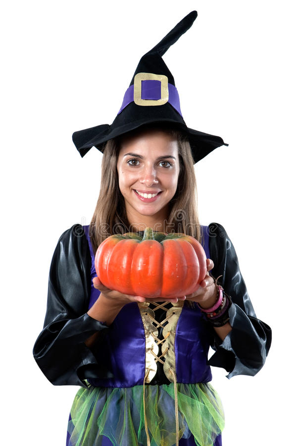 Pretty Girl With Witch Costume Royalty Free Stock Photography