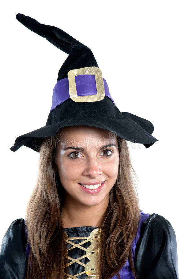 Pretty girl with witch costume. Isolated on white royalty free stock images
