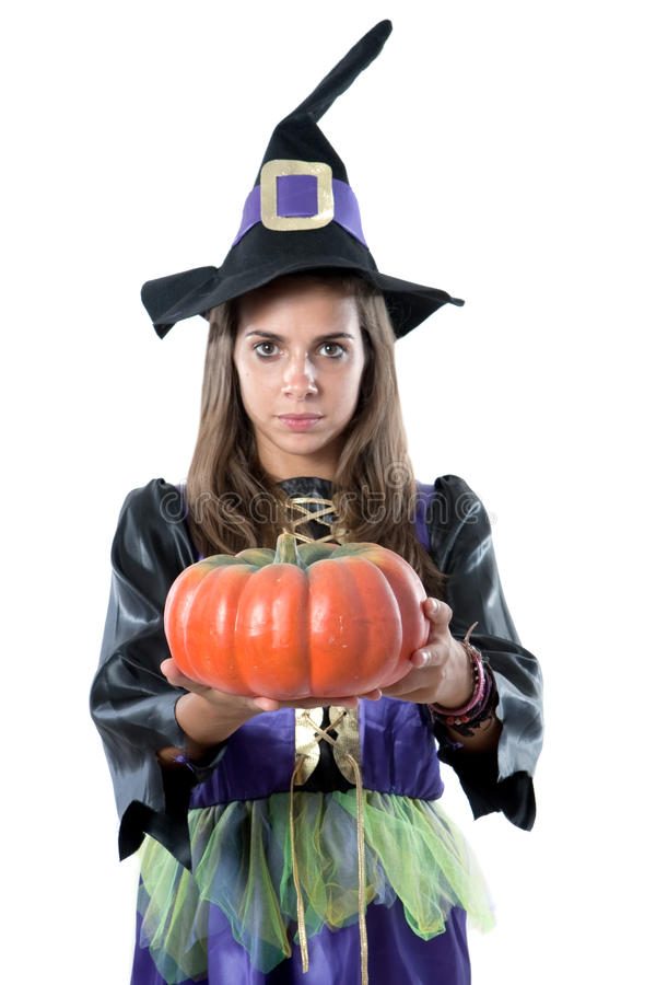 Pretty girl with witch costume. Isolated on white stock image