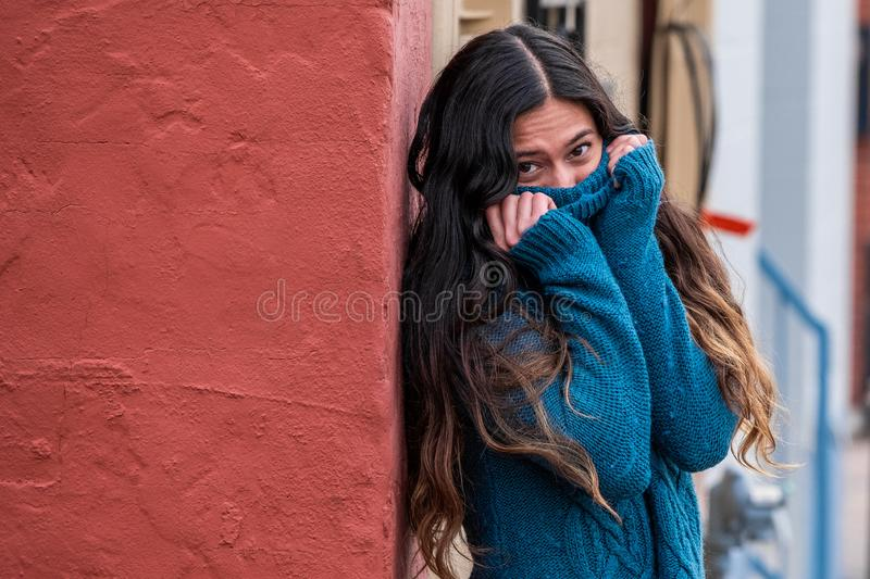 Pretty girl woman - indian latino mexican india in casual lifestyle fashion clothing. Pretty sexy cute girl woman - ethnic native american indian - mexican stock image