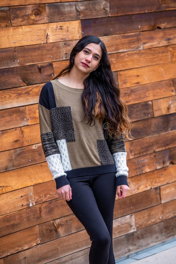 Pretty girl woman - indian latino mexican india in casual lifestyle fashion clothing. Pretty sexy cute girl woman - ethnic native american indian - mexican stock images