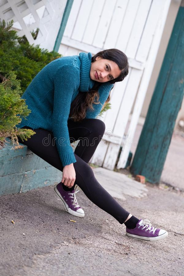 Pretty girl woman - indian latino mexican india in casual lifestyle fashion clothing. Pretty sexy cute girl woman - ethnic native american indian - mexican royalty free stock photos