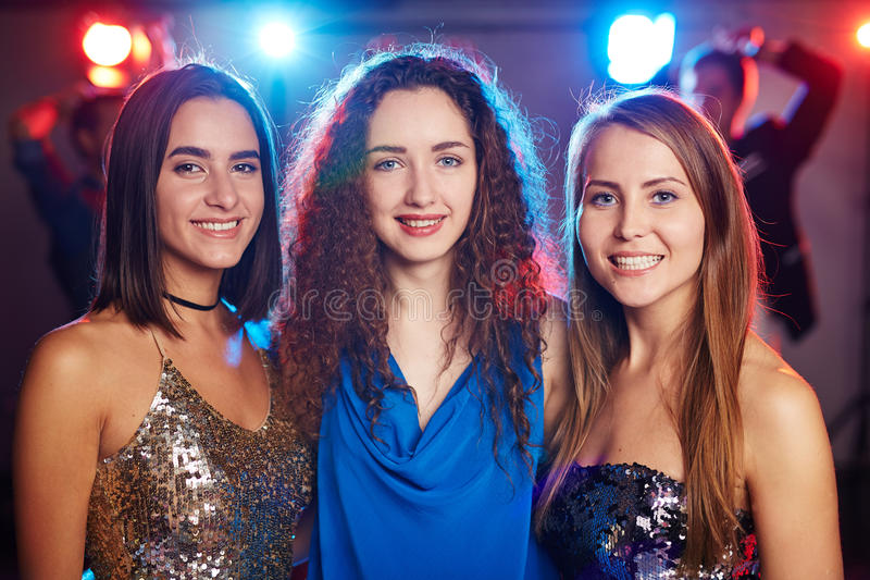 Pretty girls at graduation party stock photo