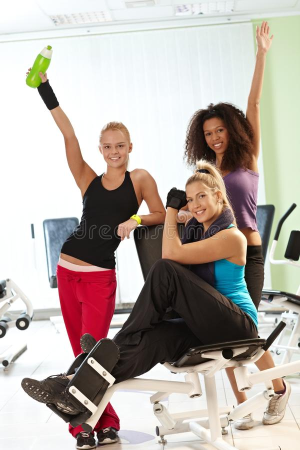 Pretty girls at the gym royalty free stock images
