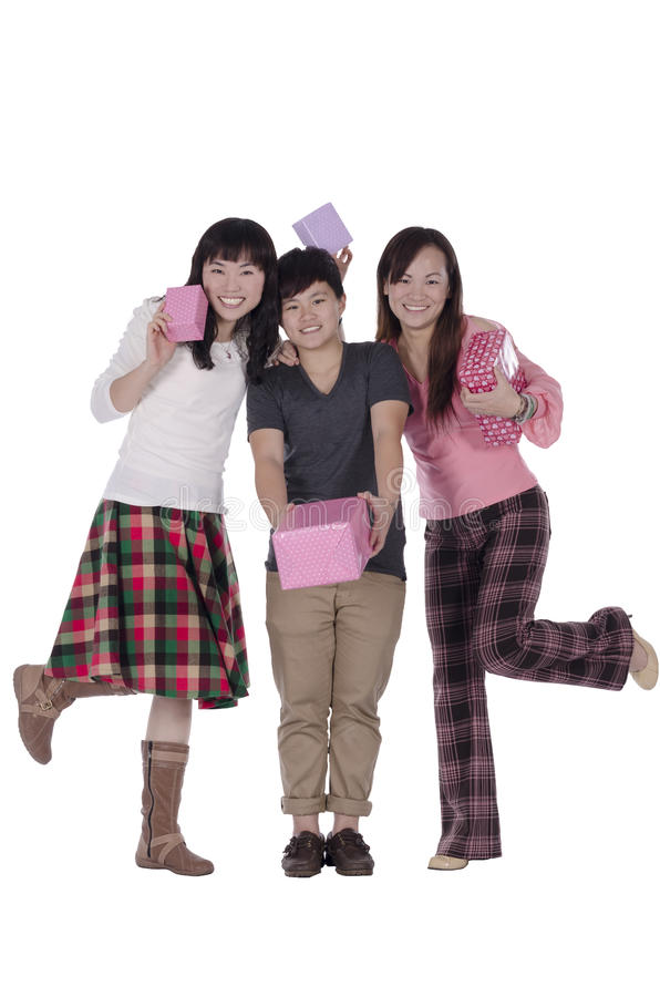 Pretty girls holding the box of gift royalty free stock photo