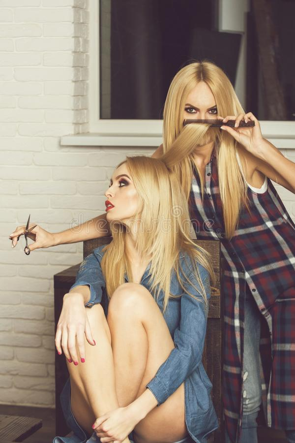 Free Pretty Girls In Beauty Salon, Hairdresser Makes Hairstyle Royalty Free Stock Images - 124897579