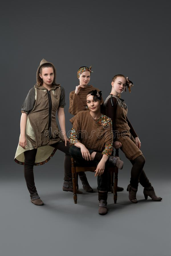 Pretty girls in original folk costumes shot royalty free stock images