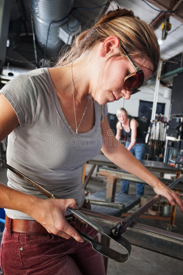 Sculptor Shaping Glass Art royalty free stock photos