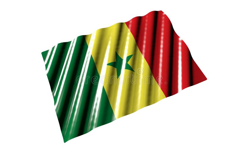 Cute any occasion flag 3d illustration - shining flag of Senegal with large folds lay isolated on white, perspective view. Pretty glossy flag of Senegal with stock illustration