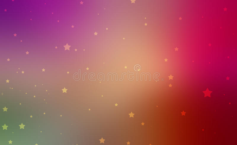 Pretty gold stars on colorful background in sunset colors of pink purple red yellow and orange. Colorful smooth blurred abstract background with gold stars on royalty free illustration