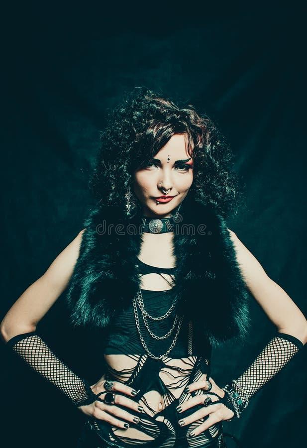 Pretty gothic girl stock photo