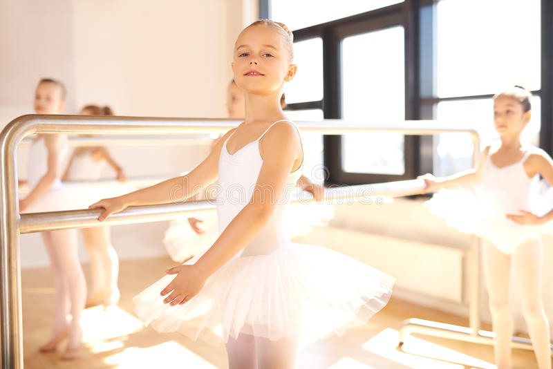 Pretty graceful young ballerina royalty free stock photo