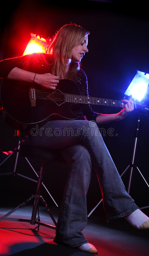 Pretty guitar player stock images
