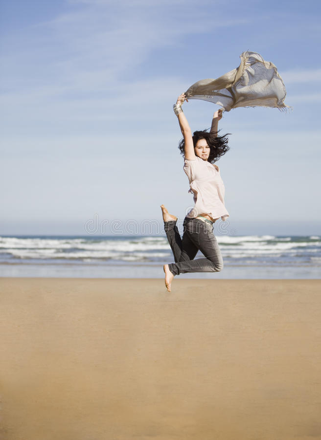 Download Pretty happy girl jumping stock photo. Image of athlete - 13992064