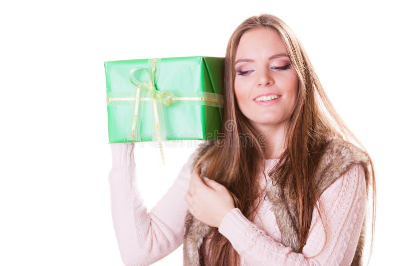 Pretty happy woman with box gift. Birthday. stock photo