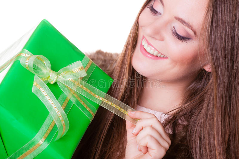 Pretty happy woman with box gift. Birthday. stock images