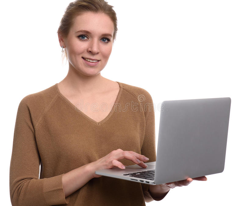Pretty happy woman use laptop computer. Isolated stock photography