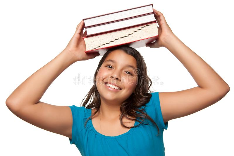 Download Pretty Hispanic Girl With Books On Her Head Stock Image - Image of latino, close: 10110419