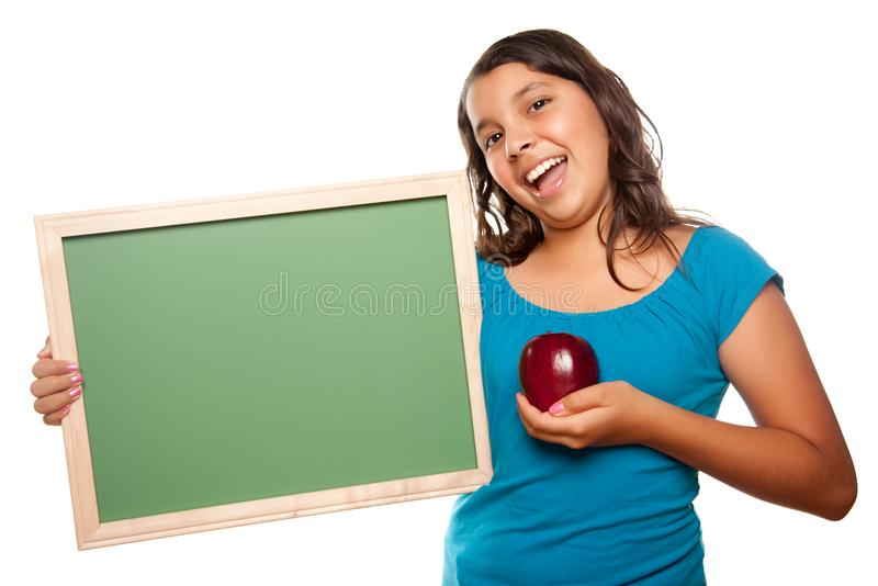 Download Pretty Hispanic Girl Holding Blank Chalkboard And Stock Image - Image of female, chalk: 10110399