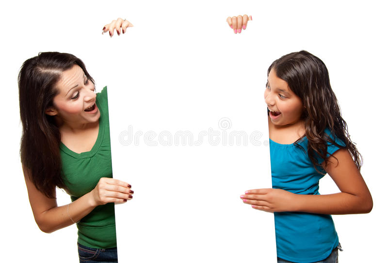 Download Pretty Hispanic Girl & Mother Holding Blank Board Stock Image - Image: 10172787