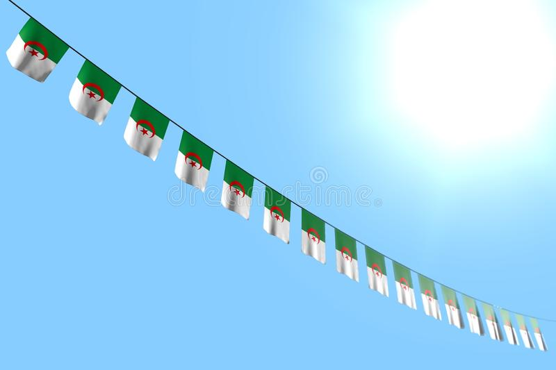 Pretty many Algeria flags or banners hangs diagonal on string on blue sky background with soft focus - any occasion flag 3d. Pretty holiday flag 3d illustration vector illustration
