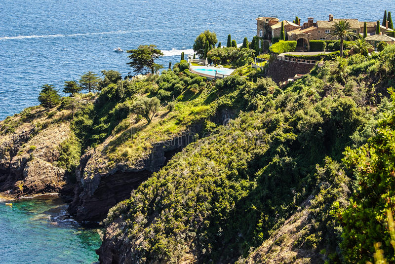 Pretty house in Antibes. Antibes is a resort town in the Alps-Maritimes department in southeastern France between Cannes and Nice stock image