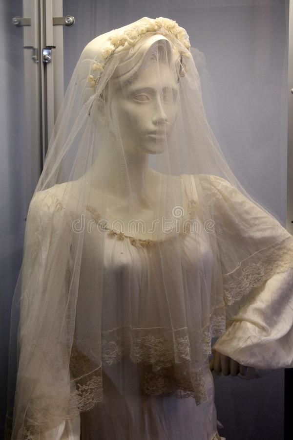 Mannequin dressed in gorgeous wedding gown made from parachutes during war, Dunkirk Lighthouse Museum, New York, 2018 royalty free stock images