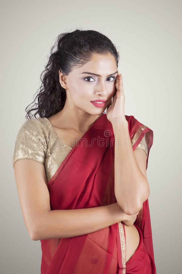 Pretty Indian woman looking at the camera royalty free stock photography